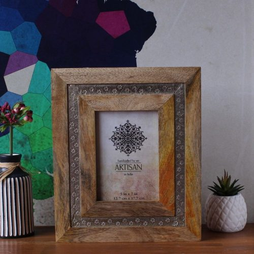 Silver Wood Carved Photo Frame