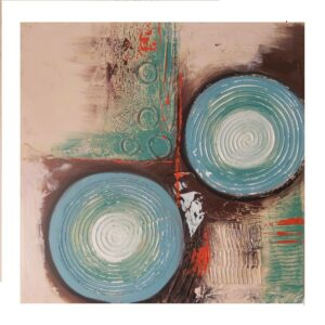 Hand Painted Blue Circles Abstract Art