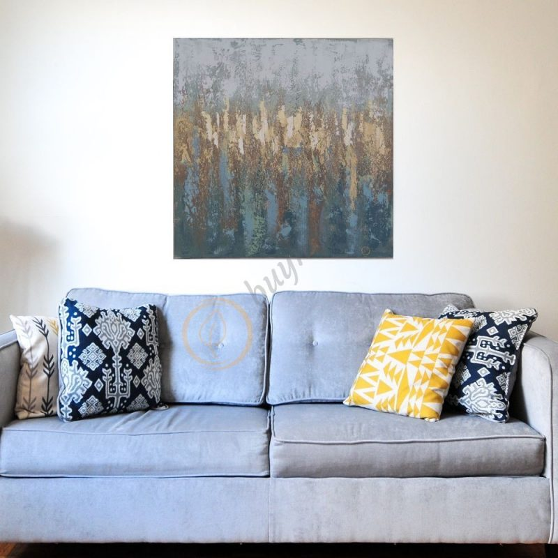Hand Painted Golden Abstract Art Decor