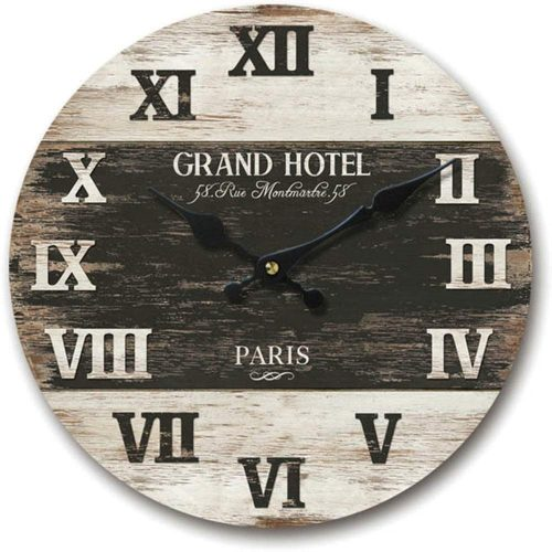 Black Grand Hotel Round wall clock