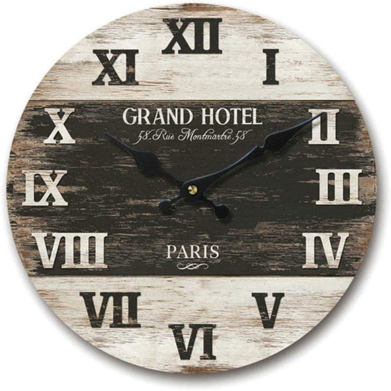 Black Grand Hotel Round wall clock
