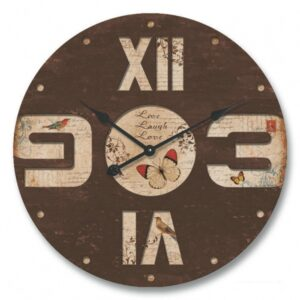 Large Butterfly Wall Clock with engraved numbers
