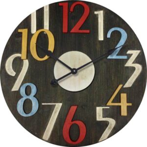 Round Multi Color Number Wall Clock