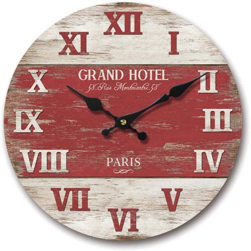 Paris Grand Hotel Red wall clock