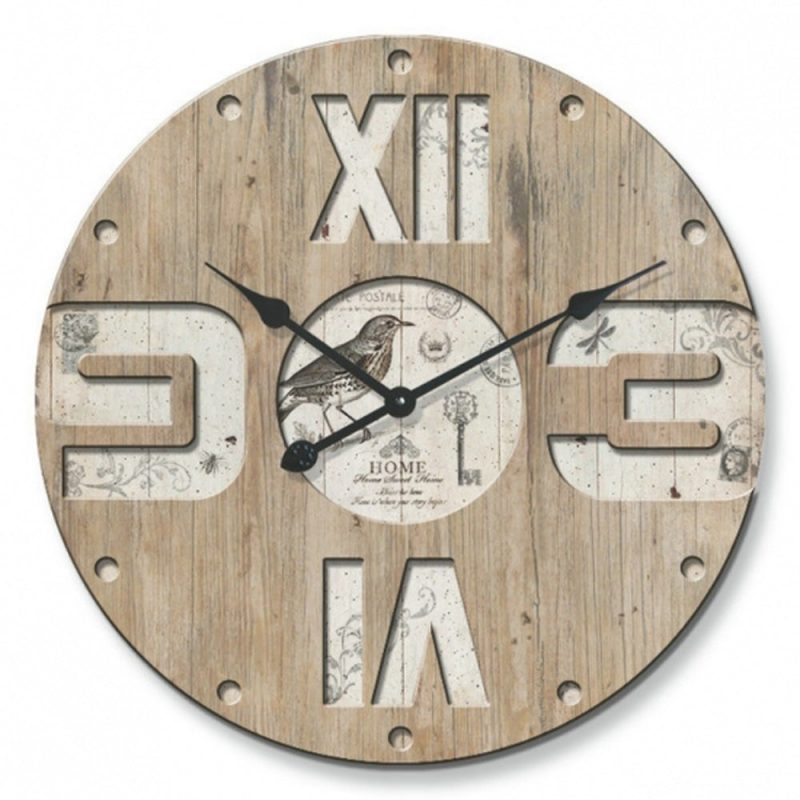 Bird Wall Clock with engraved numbers