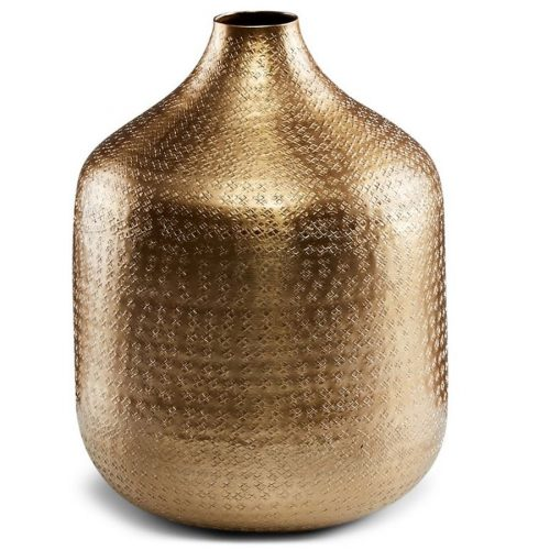 Textured Antique Golden Aluminium Flower Vase