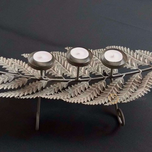 large leaf metal candle tea light holder