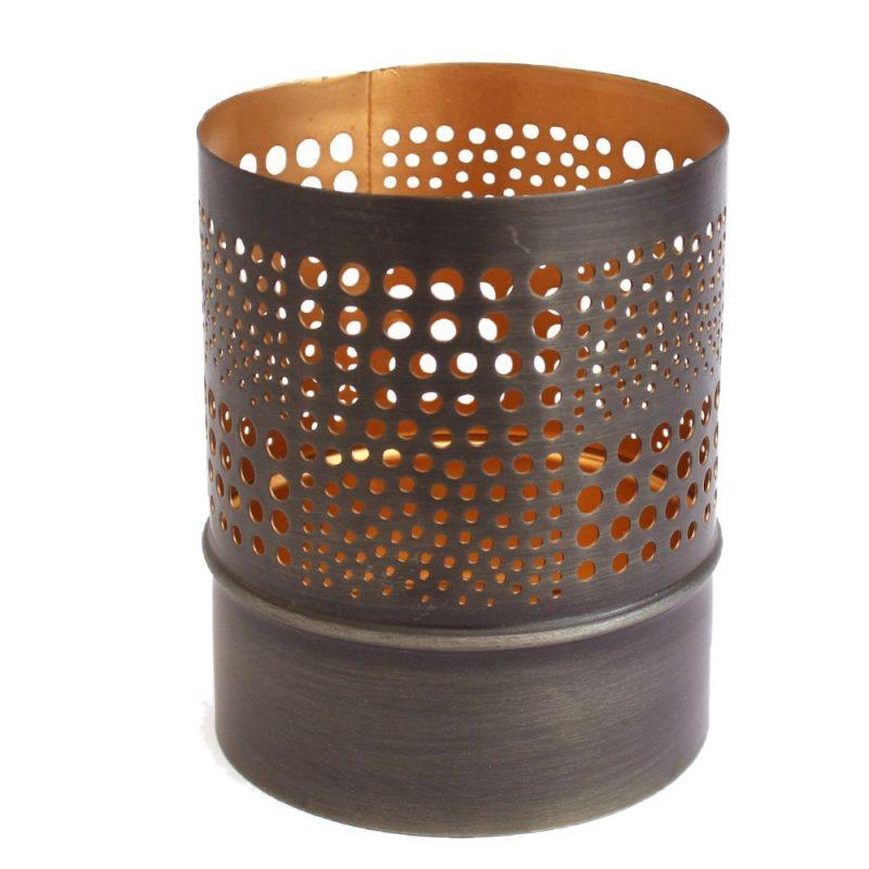 Copper Dots Hurricane Moroccan Table Lantern