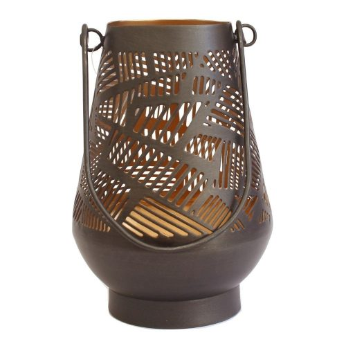 Copper Zigzag Metal Hurricane Candle Lantern