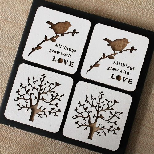 Love Birds Tree of Life Wood Coasters