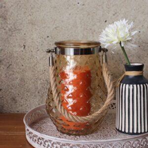 Amber Hurricane Glass Pattern Candle Holder