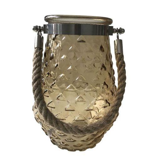 Amber Hurricane Glass Pattern Candle Holder (5)