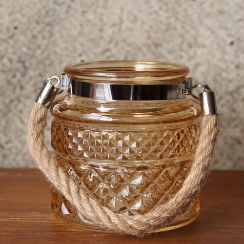 Amber Hurricane Glass Rope Tea Light Holder