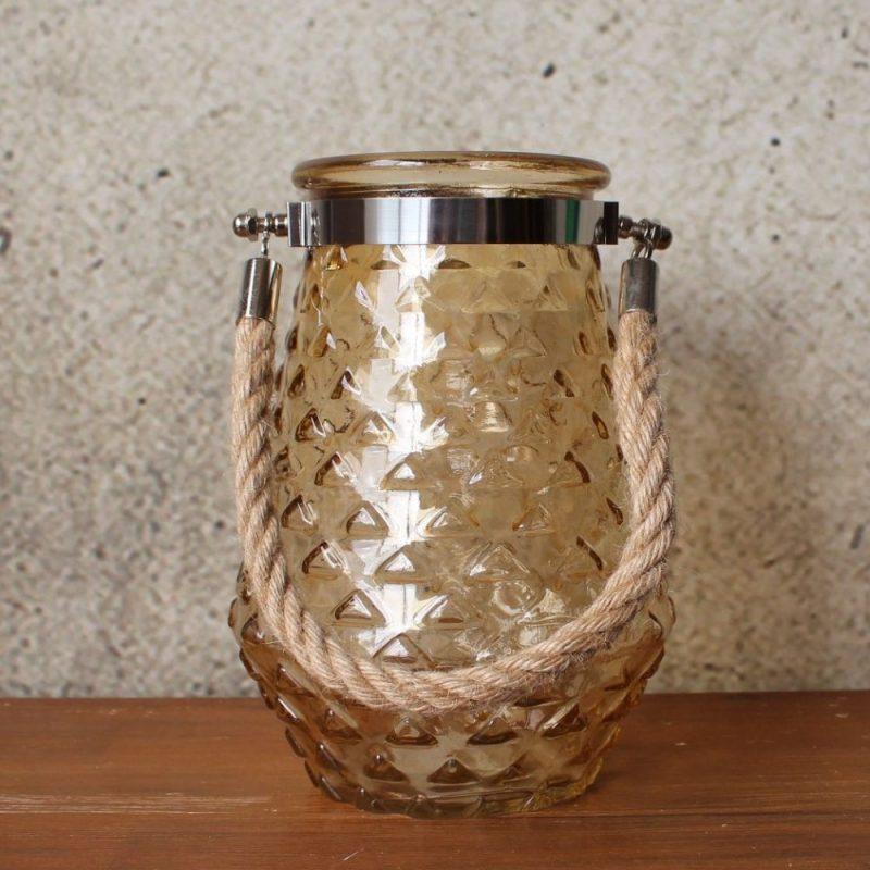 Amber Hurricane Glass Rope Tealight Holder