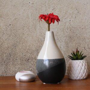 Black White Glazed Ceramic Vase