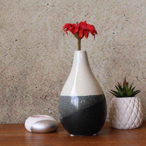 Black White Glazed Ceramic Vase