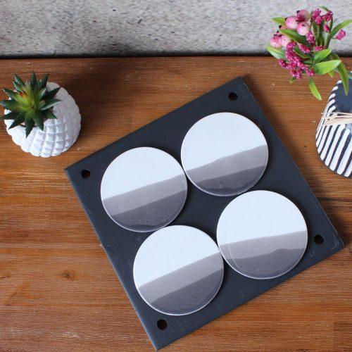 Black White Horizon Coasters