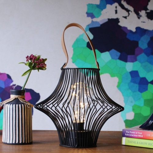 Black Wire Lantern With String Lights