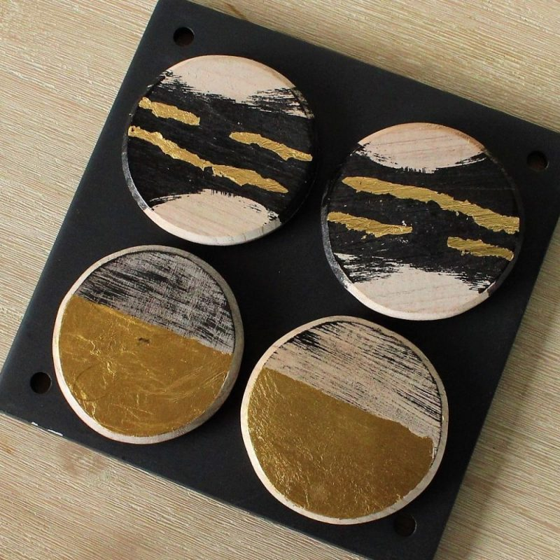 Black and Gold Tribal Coasters