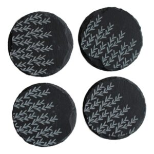 Blue Leaves Slate Coasters