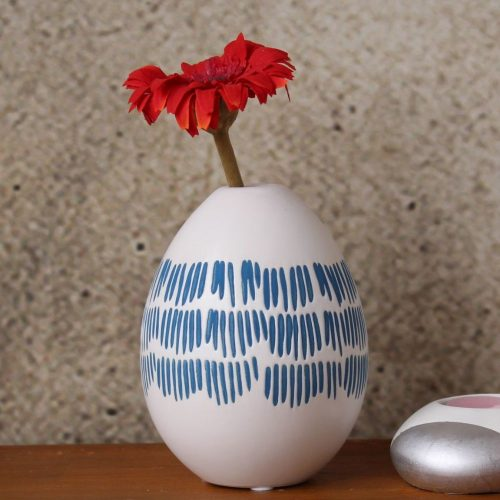 Blue Tribal Tear Drop Ceramic Vase