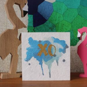 Blue XO Standing Wood Block