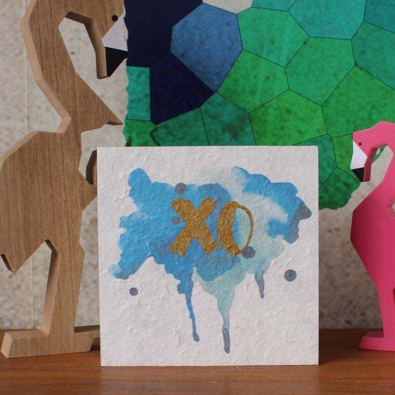 Blue XO Standing Wood Block