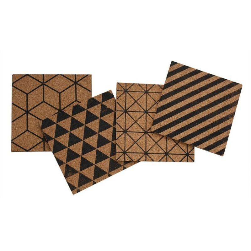 Black Geometric Square Cork Coasters
