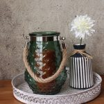 Green Hurricane Glass Pattern Candle Holder (2)