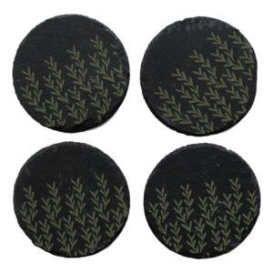 Green Leaves Slate Coasters