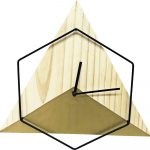Hexagonal Triangle Wood wall clock