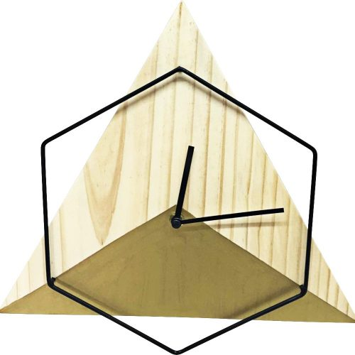 Hexagonal Triangle Wood wall clock