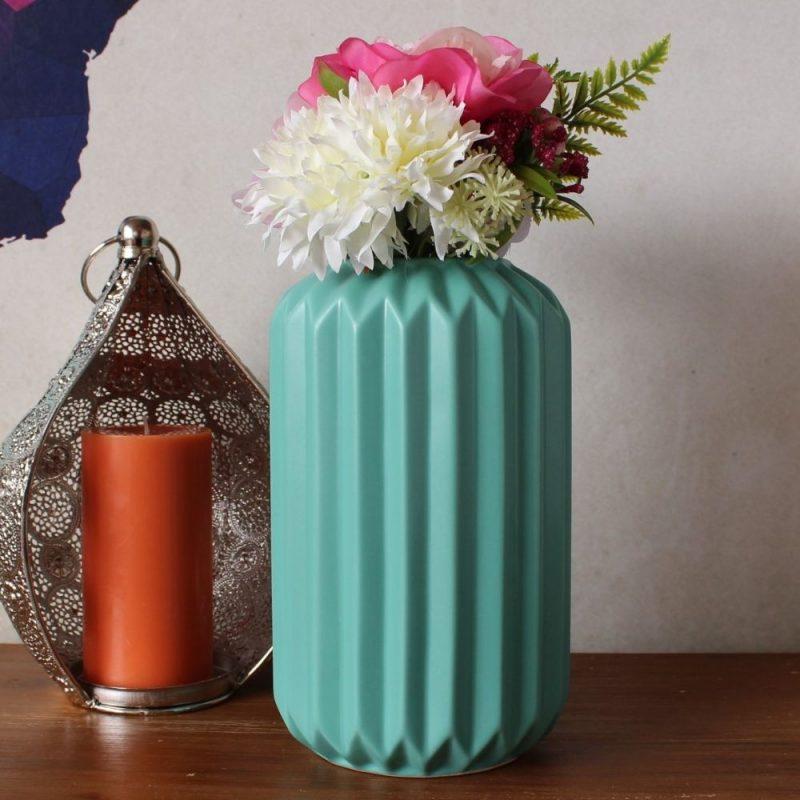 Tall Mint Fluted Ceramic Vase