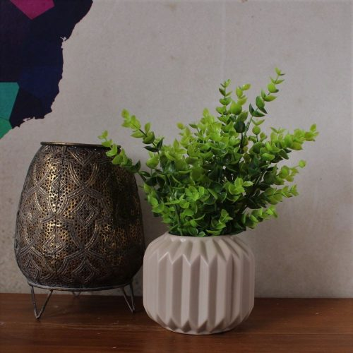 Taupe Fluted Ceramic Flower Vase