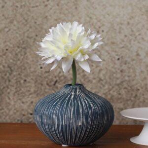 Inky Blue Etched Ceramic Vase