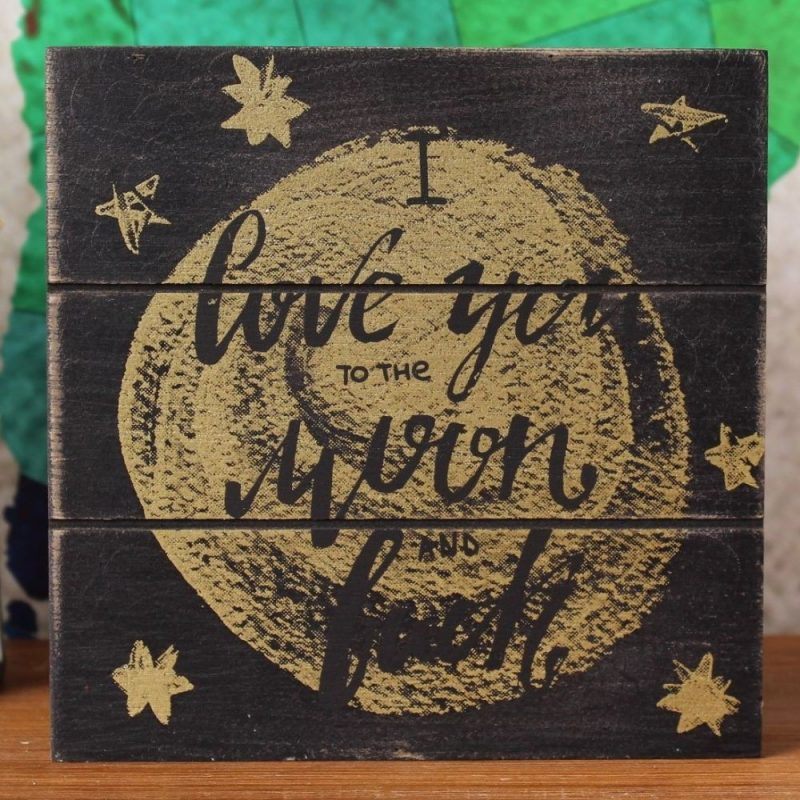 Love Moon & Back Standing Wood Block