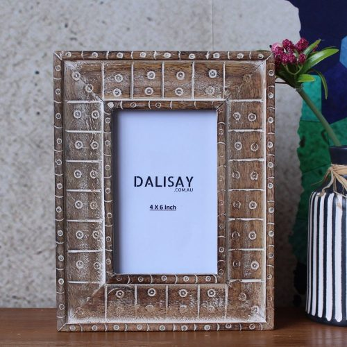 Luxe Tribal Carved Mango Wood Photo Frame