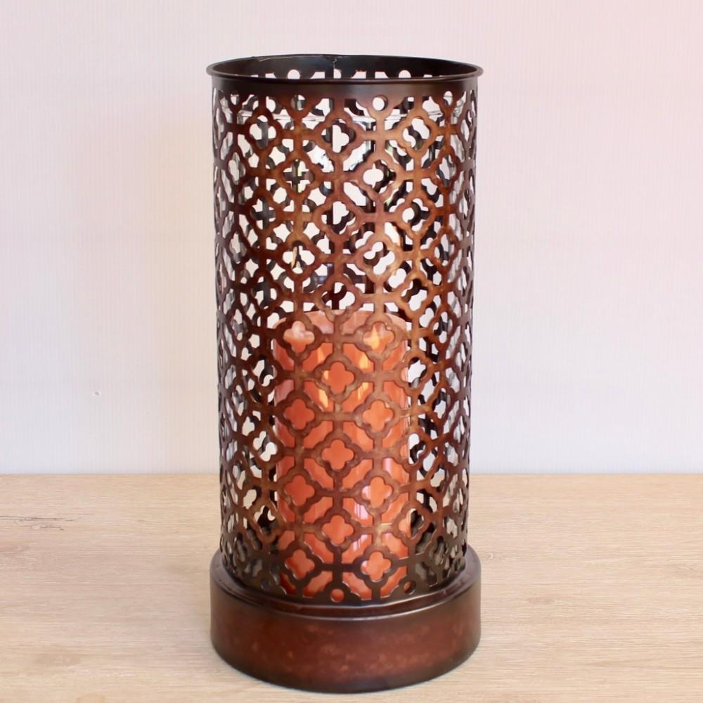 Moroccan Mesh Metal Hurricane Candle Holder 30cm Dalisay