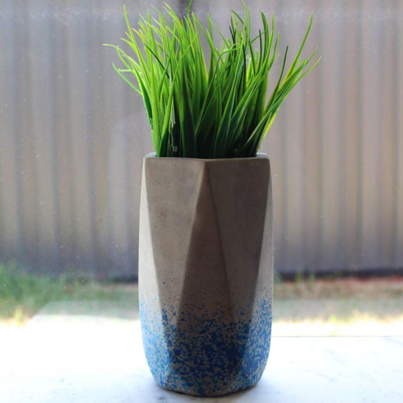 Navy dots Concrete Planter Pot