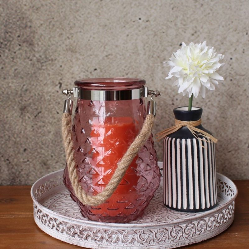Pink Hurricane Glass Pattern Candle Holder (2)
