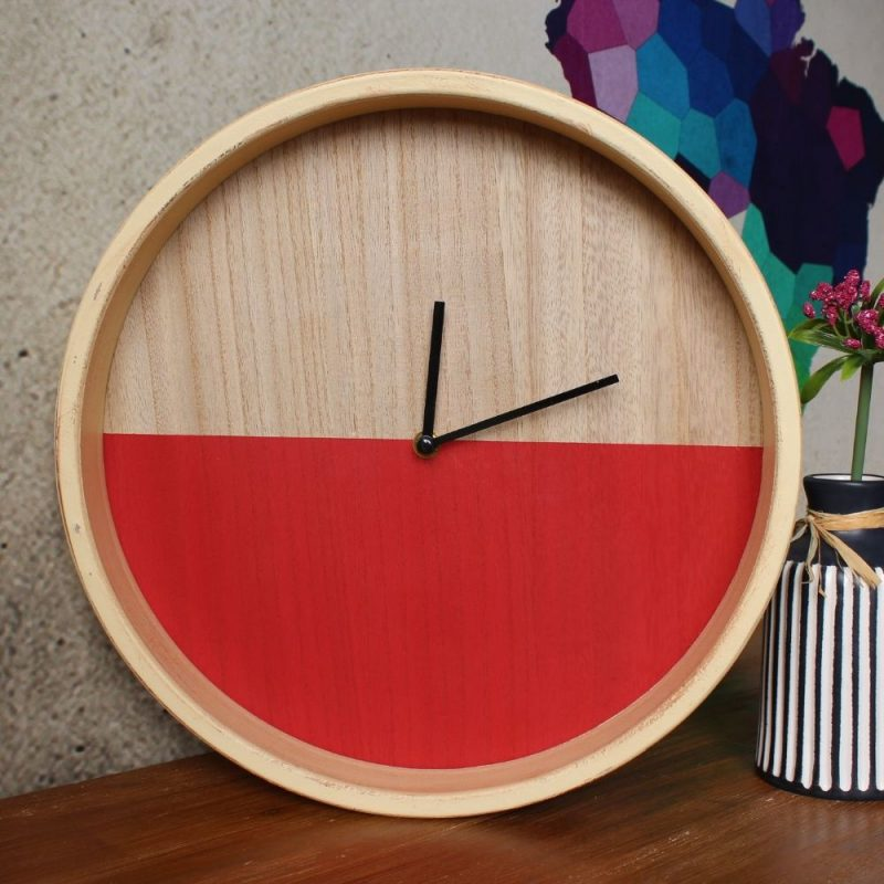 Red Brown Wood Wall Clock