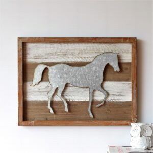 Rustic Metal Country Horse Wooden Wall Art