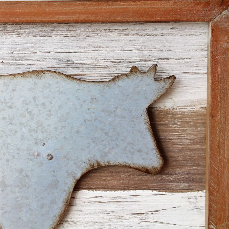 Rustic Metal Cow Wooden Wall Art 40cm