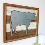 Rustic Metal Cow Wooden Wall Art 40cm (2)