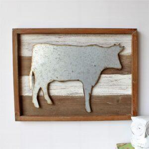 Rustic Metal Cow Wooden Wall Art 40cm