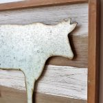 Rustic Metal Cow Wooden Wall Art 40cm (4)