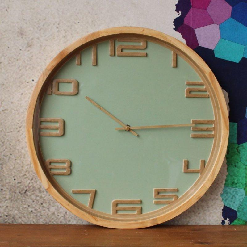 Sage Green Modern Wooden Wall Clock 42cm Dalisay