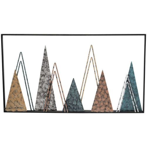 Silver Gold Mountain Metal Wall Art