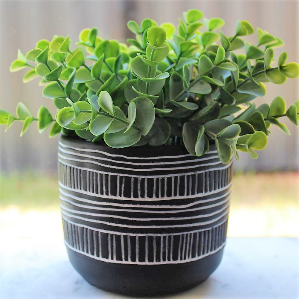 Black white tribal monochrome pot planter 11cm indoor outdoor garden home decor