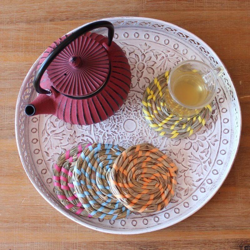 Vibrant Rattan Coasters